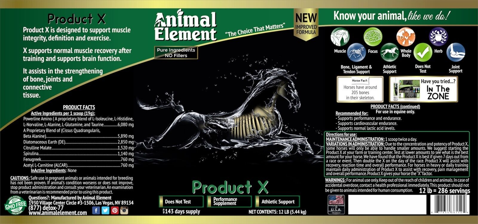 Animal Element Product X  Performance Enhancer 2Muscle recovery, concentration