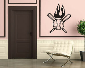 Image Is Loading Fire Ball Baseball Bat Pellet Sport Mural Wall
