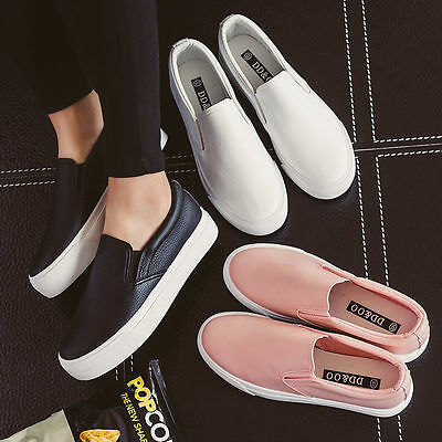 Fashion Korean Women's Leather Casual Flats Oxfords Loafer Slip On Shoes