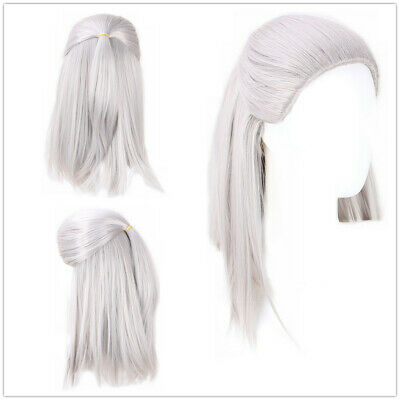 The Witcher Geralt Of Rivia Cosplay Halloween Sliver Long Straight Hair Full Wig Ebay