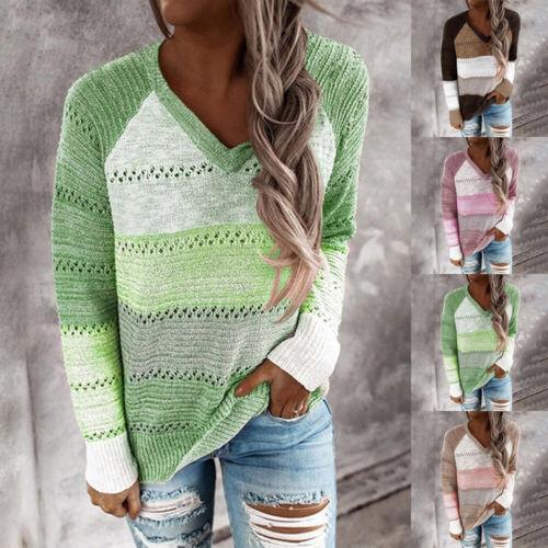 Damen Farbblock Pullover Winter Warm Baggy Strick Freizeit Pullover Pulli Top