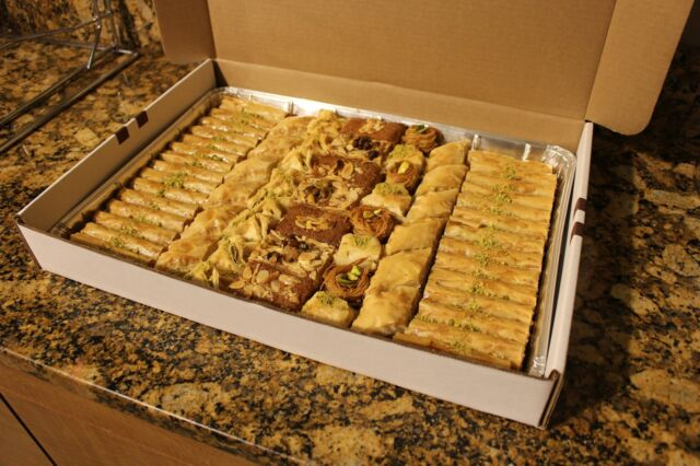 5 LB OF ASSORTED LARGE BAKLAVA TRAY OF WALNUT, ALMOND AND PISTACHIOS