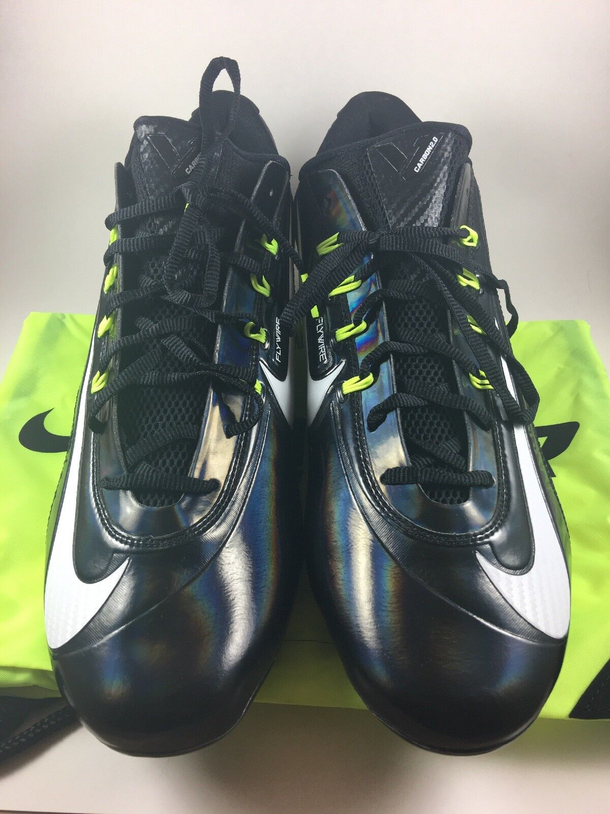 Sz 16 Nike Vapor Carbon Cleats 2.0 Elite TD Football Cleats Carbon Triple Black White 7bf938