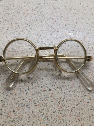 MEDIUM GOLD RIMMED ROUND TEDDY //DOLL GLASSES with clear ear wires