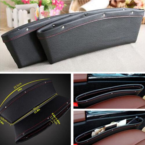 Car 2x PU Leather Catch Catcher Box Caddy Seat Gap Slit Pocket Storage Organizer