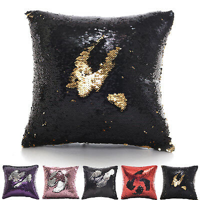 SEQUIN MERMAID SPARKLE GLITTER PACK OF 2 CUSHION COVERS RED SILVER BLACK PINK