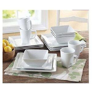 Square white dinner dishes plates 16 piece porcelain for Kitchen set plates