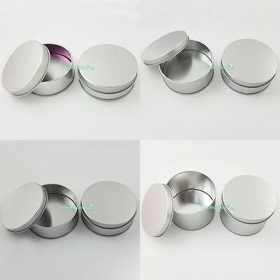 Tinplate Iron Tin Round Storage Case Container Small Box Silver Height 22 32 60
