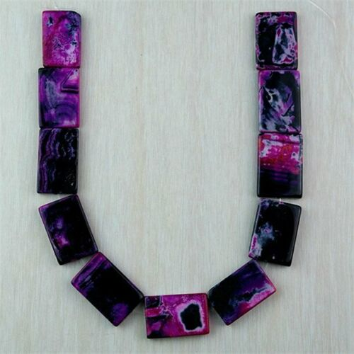 """Wholesale 32x21x5mm Mixed Colour Crazy Lace Agate Oblong Loose Bead 15/"""" HTZCQ4"""