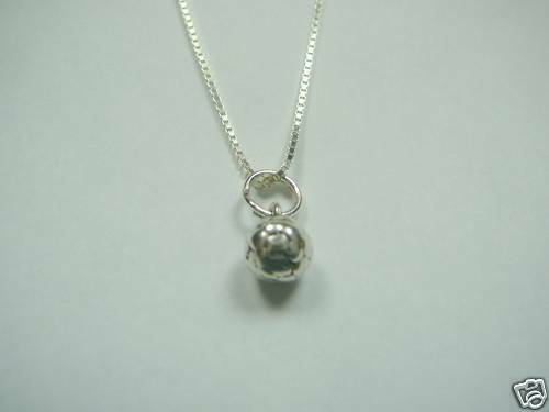 """Solid Sterling Silver Soccer Necklace 16/"""" Length"""