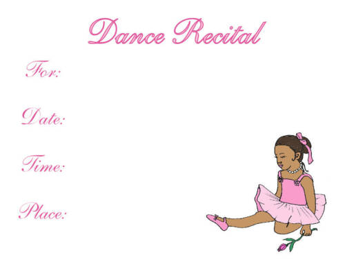 ballet DANCE RECITAL invitation African American cute