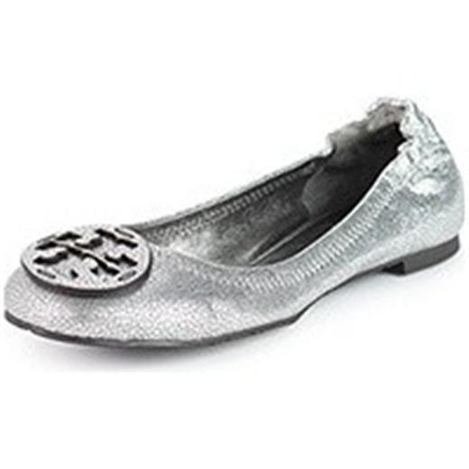 Tory Burch REVA Metallic Pebbled Leather Ballerina Ballet Flat chaussures argent 5 US