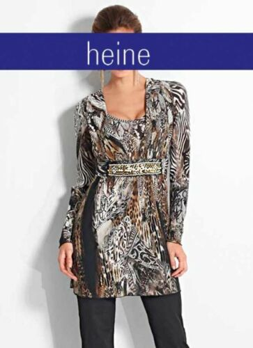 Neuf!! Kp 89,90 SALE/%/%/% Tunique-Shirt Heine Documents-Simili noir-Imprimé