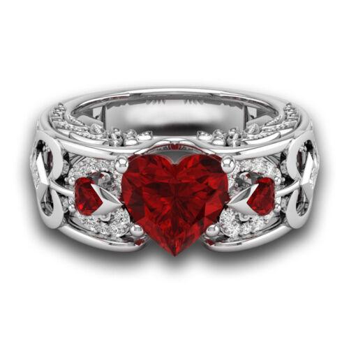 Fashion Ruby Gemstone Silver Women Jewelry Ring Wedding Engagement New Size 6-10