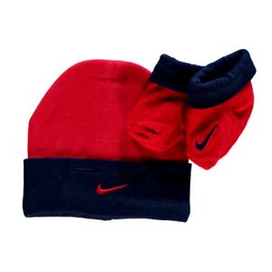 2d607baa4ecdf NIKE ensemble lot cadeau bonnet bébé + chaussons rouge marine 0-6 ...