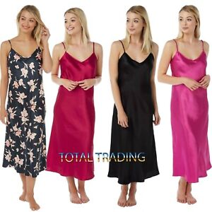 Ladies-Womens-Silky-Satin-Chemise-Long-Nightdress-Nighty-Nightshirt-Nightie