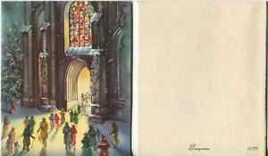 VINTAGE CHRISTMAS EVE CHURCH SNOW STAINED GLASS WINDOW VICTORIAN FOLKS ART CARD