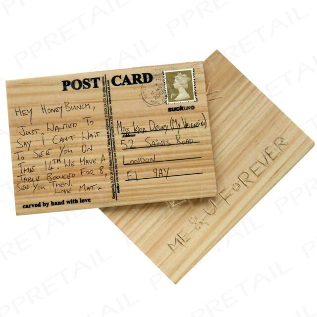 Suck UK Carve Your Own Postcard Wooden Personalised Message Greeting ...