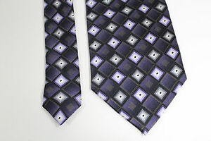 Bergamo-Necktie-Tie-Silk-Hand-Made-Geometric-Metallic-Gold-Purple-White-Black