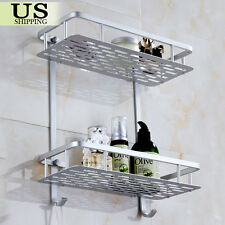aluminum wall mounted dual 2 tier bathroom shower bath shelf rack holder caddy