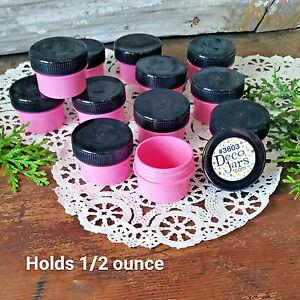 12-PINK-Plastic-Jars-BLACK-Caps-tops-screw-lids-cosmetic-USA-Container-3803