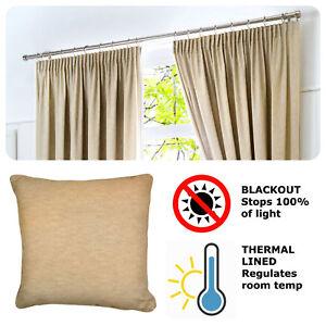 Fusion-DIJON-Natural-Beige-Blackout-Pencil-Pleat-Curtains-Tiebacks-amp-Cushions