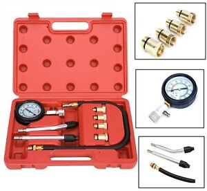 Motorcycle Petrol Engine Cylinder Car Compression Tester Kit Auto Tools