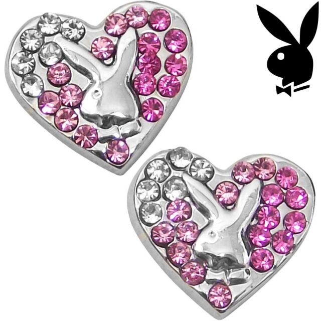 Playboy Earrings Heart Bunny Ear Stud Silver Pink Crystal VALENTINE'S DAY GIFT x