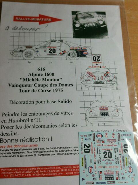 DECALS 1//32 REF 955 PEUGEOT 307 WRC LOIX TOUR DE CORSE 2004 RALLYE RALLY