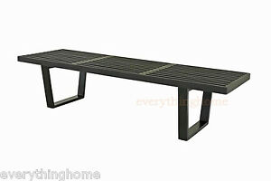 George-Nelson-Style-Black-Slotted-Wood-Bench-Seat-Coffee-Table-5-Ft-60-034-Long