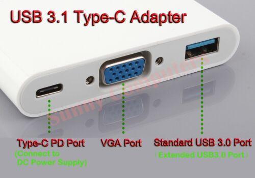USB 3.1 Type-C to VGA USB 3.0 USB-C Multiport Charging Converter HUB Adapter Hot