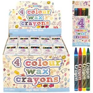 1-250 Packs 4 Mini Colouring Wax Crayons Kids Party Bags Fillers ...