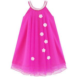US-STOCK-Flower-Girls-Dress-Halter-Dress-Pearl-Party-Wedding-Birthday-Size-4-14