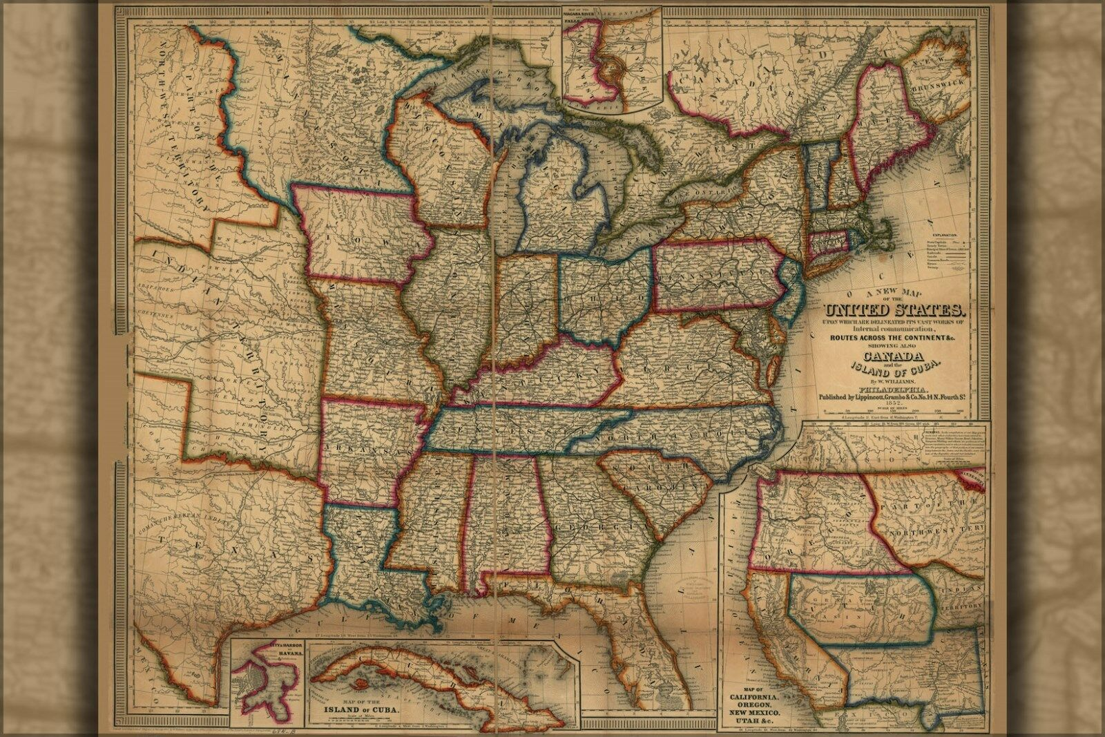 Poster, Many Größes; Map Of The United States 1852