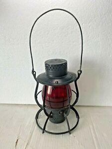 Vintage Dietz No. 39 Steel Clad Railroad Lantern New York USA + Red Vulcan Globe