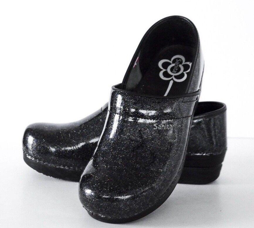 tutti i beni sono speciali Sanita Sanita Sanita Donna  Professional Skylar Blk Glitter blu Dots Mule scarpe 42 10.5 - 11  negozio outlet
