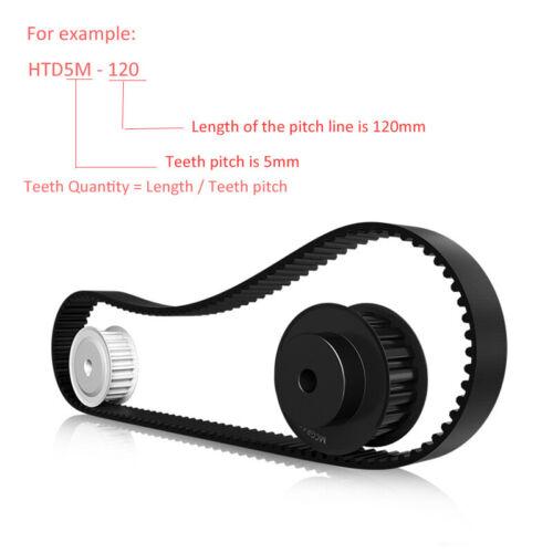 HTD120~425//Pitch 5mm Schwarz-Gummi Zahnriemen Übertragung Riemen Timing Belts