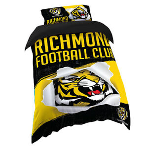 Richmond-Tigers-AFL-SINGLE-Bed-Quilt-Doona-Duvet-Cover-Set-NEW-2019-Gift