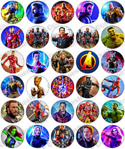 30 X  Avengers Cup Cake Toppers On Edible Wafer//Rice Paper