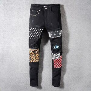 Nuevo Para Hombres Elastico Tela Delgada Moto Jeans Pantalones Retro Parcheado Clasico Negro Biker Ebay