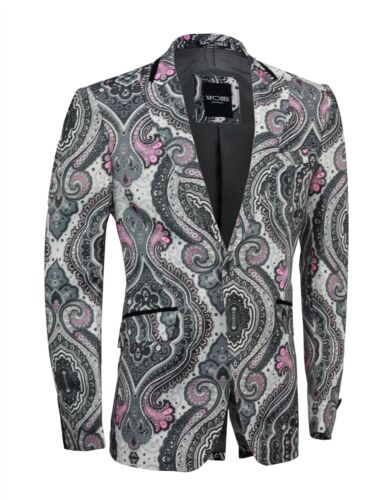 Mens Lilac White Paisley Printed Italian Designer Suit Jacket Fitted Blazer