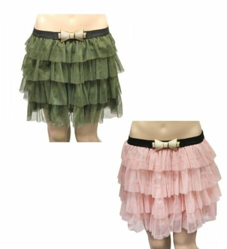 Ladies 2 Layer Mesh Tiered TuTu Skirt  With Bow Belt  Green Pink Uk Size 8-14