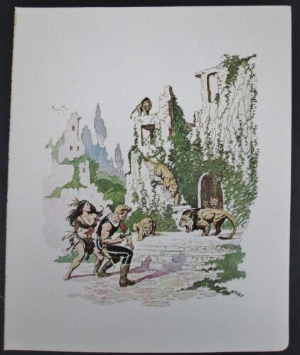 LOST CONTINENT Frank Frazetta Vintage Color Plate Lion Lioness GGA Native Ruins