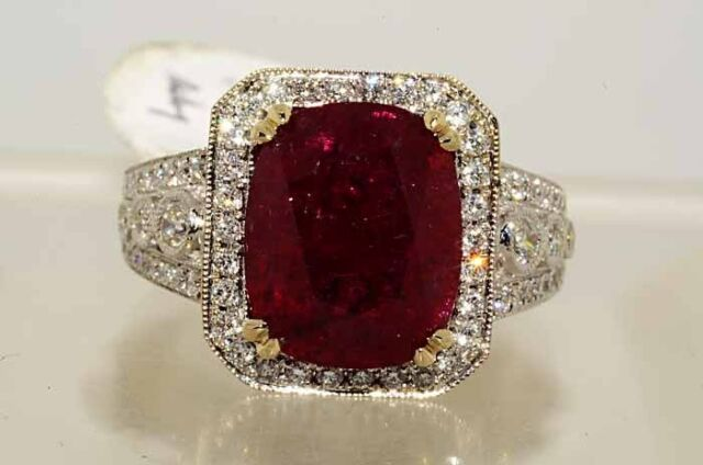 $39,500 6.73CT LAPIS GEM CERTIFIED NO HEAT RUBY & DIAMOND RING 18K VVS