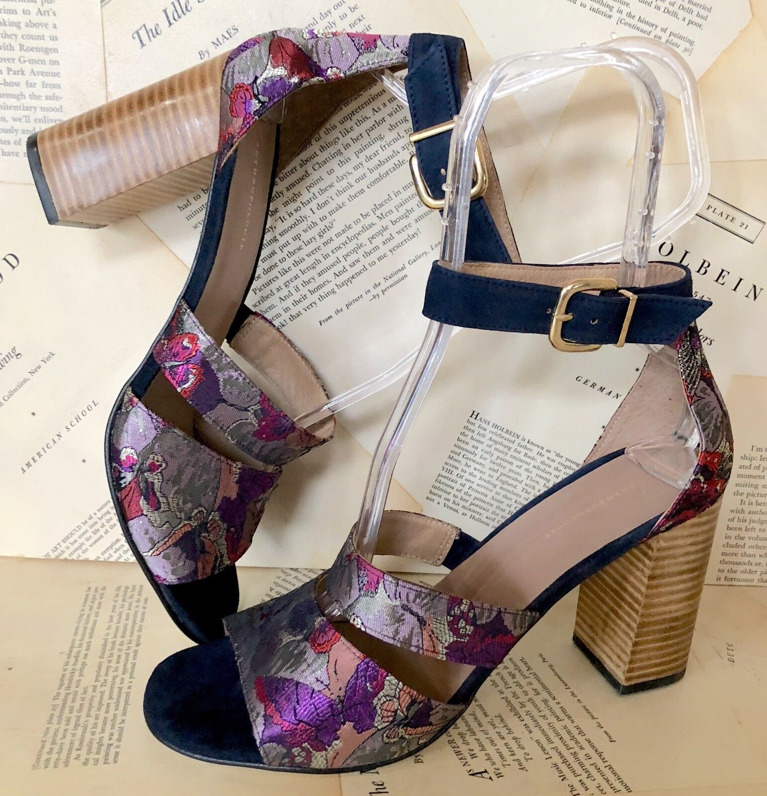 NEW Anthropologie gray blue Butterfly Brocade Suede Ankle Heel Strap Heel Ankle Sandal 41 783afc