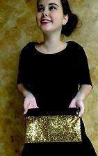 ULTRA RARE KATE SPADE NEW YORK AGATHE SUMMIT SPARKLE GOLD CLUTCH BAG PURSE SEQUI