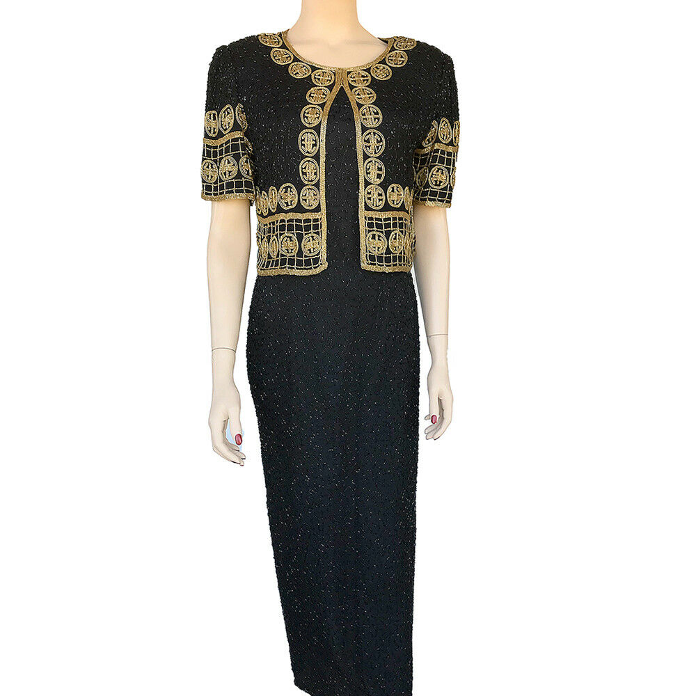 Lawrence Kazar Beaded Evening Dress Größe PM Lu Symbol Of Prosperity Dress