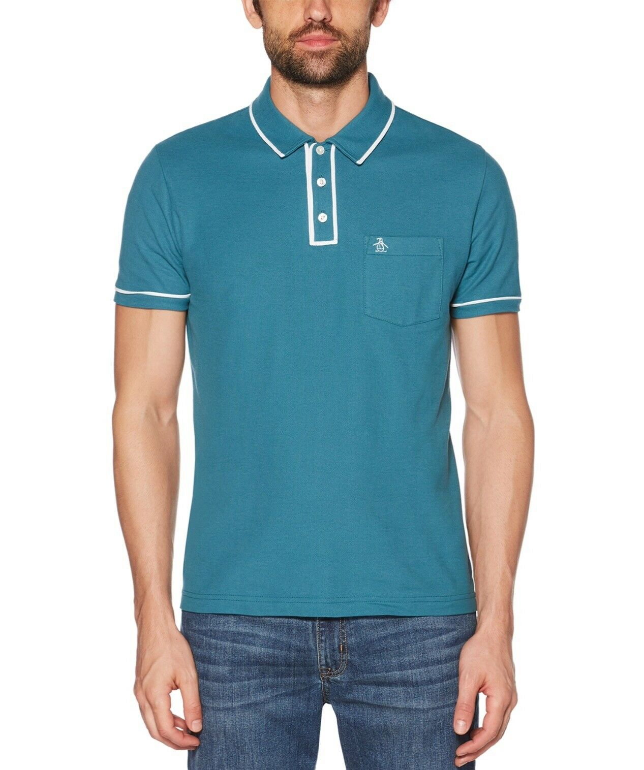 RRP  ORIGINAL PENGUIN EARL DRAGONFLY GREEN s s polo size MED BNWT free p+p