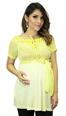 Yellow lace Maternity Short Sleeve Sext Maternity Babyshower Gender Reveal