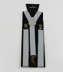 WHITE-SUSPENDERS-Womens-Mens-MEN-039-S-Braces-Belt-85cms-Adjustable-Formal-Casual